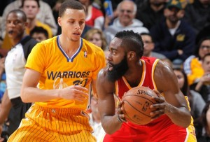 Stephen Curry guards James Harden in a previous game. Curry and the Warriors' defensive philosophy is a great example for teams, including ours at Bard.