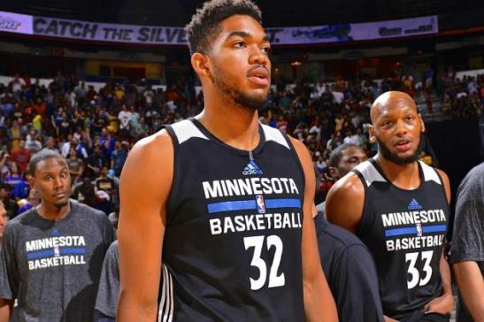 Karl-Anthony Towns has looked great for the Timberwolves so far in Summer League and preseason. (Photo by BleacherReport.com)